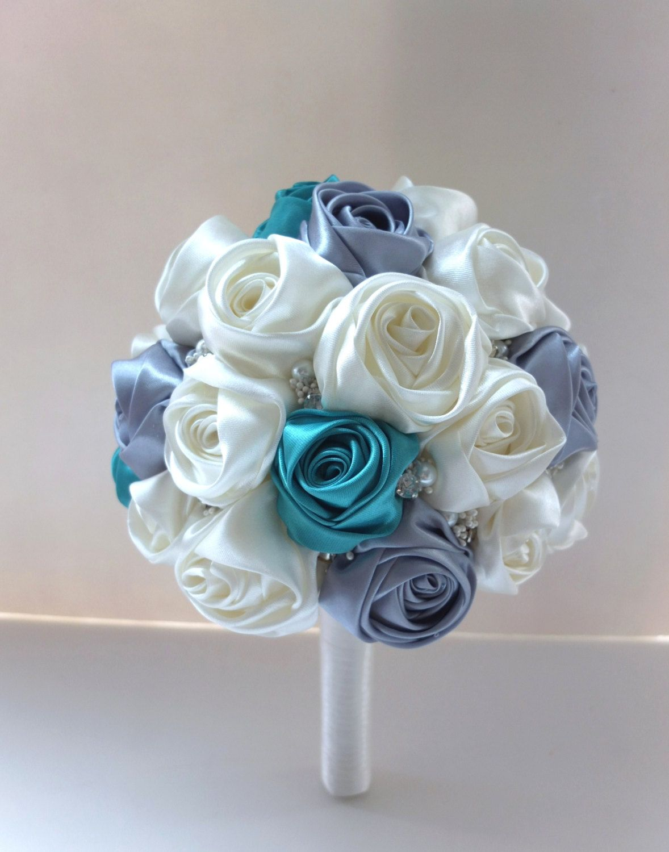 Satin Rose Bouquet Ribbon Rose Bouquet Ivory By Lovemimosafleur