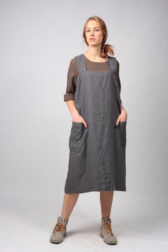 Linen Pinafore. Linen apron. Square Cross Linen Apron. Japanese Apron. Sizes XS to XXL
