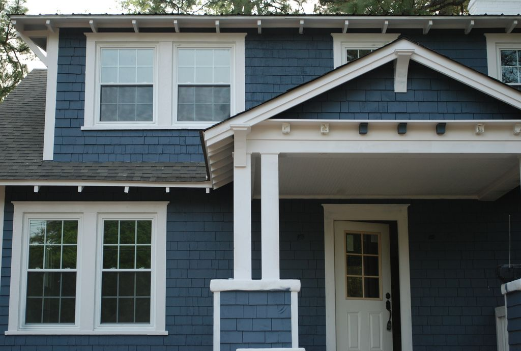 3rd Exterior Paint Job   Sherwin Williams Outerspace, Trim C .