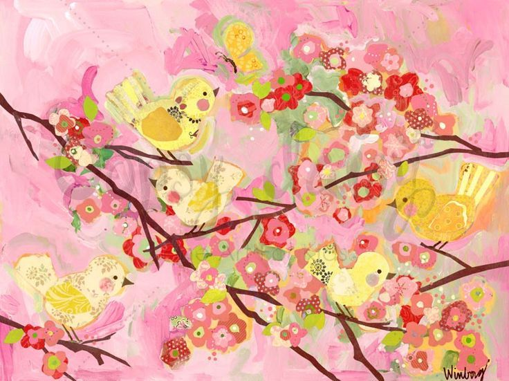 Pink and yellow cherry blossom birdies | Cherry blossoms, Cherries ...
