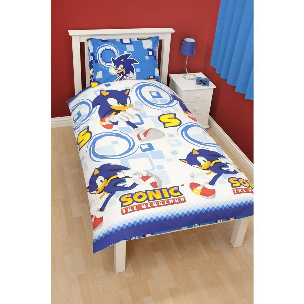 Childrens Boys Sonic The Hedgehog Single Bedding Sheets Set Bed White