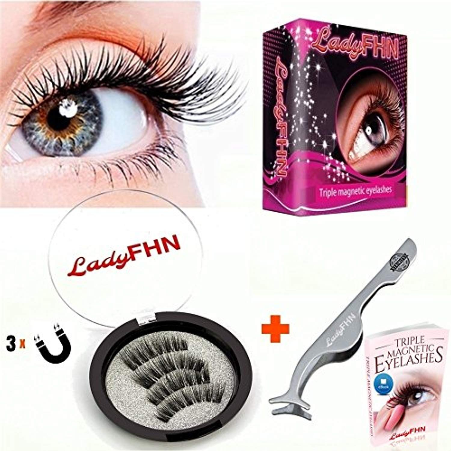 8b9e63459a0 Triple Magnetic Eyelashes by LadyFHN | 3D Reusable 3 Magnets False Lashes  for Natural Look (1 Pair 4 Pieces) No Glue #toolsaccessories