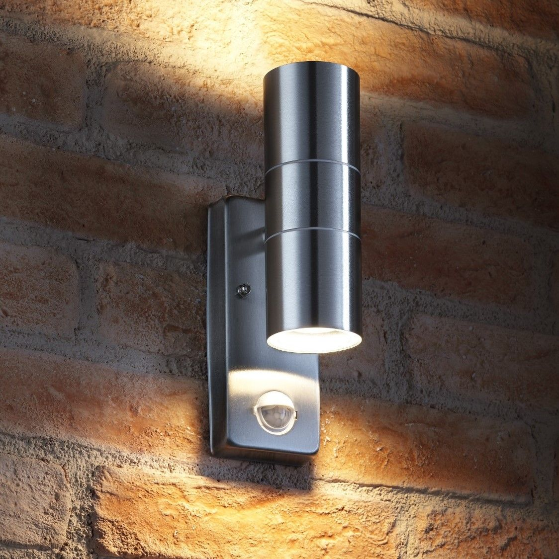Brushed Stainless Steel Outside External Wall Light With Movement Motion Sensor
