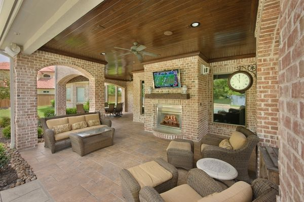 beautiful patio designs stamped concrete patios ideas fireplace outdoor furniture