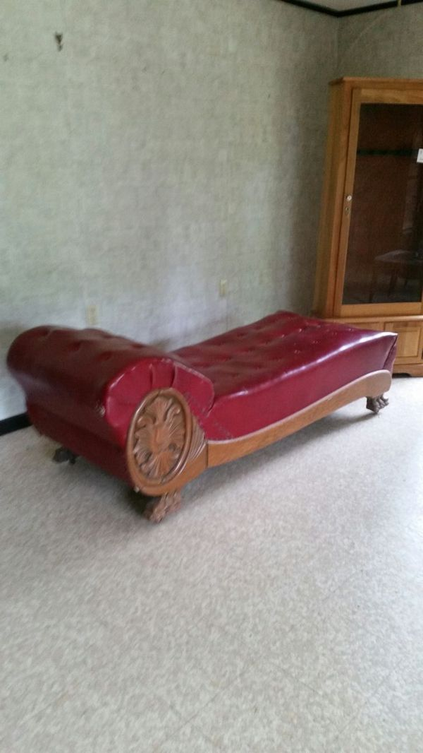 Victorian Fainting Couch Oak Trim Wooden Casters And Red