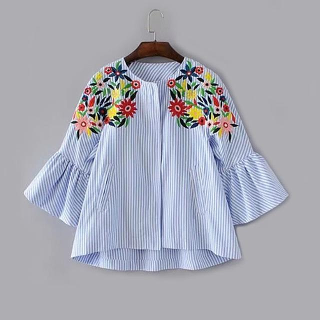 Blue Striped Bell Sleeve Flower Embroidery Blouse Round Neck