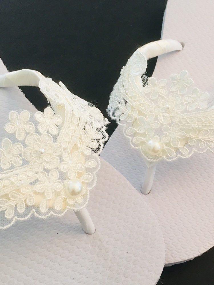 Ivory Bridal Flip Flops . Lace Pearl