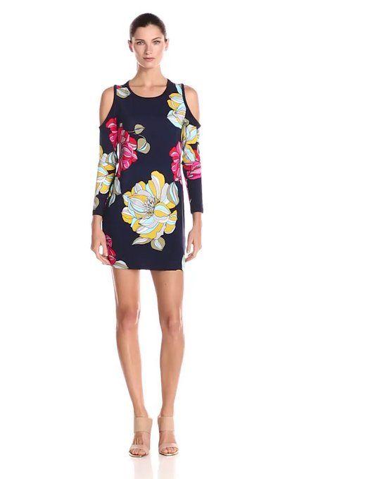 ed5aa8e6bfe Trina Turk Women s Venya Peony Print Jersey Cold Shoulder Dress ...