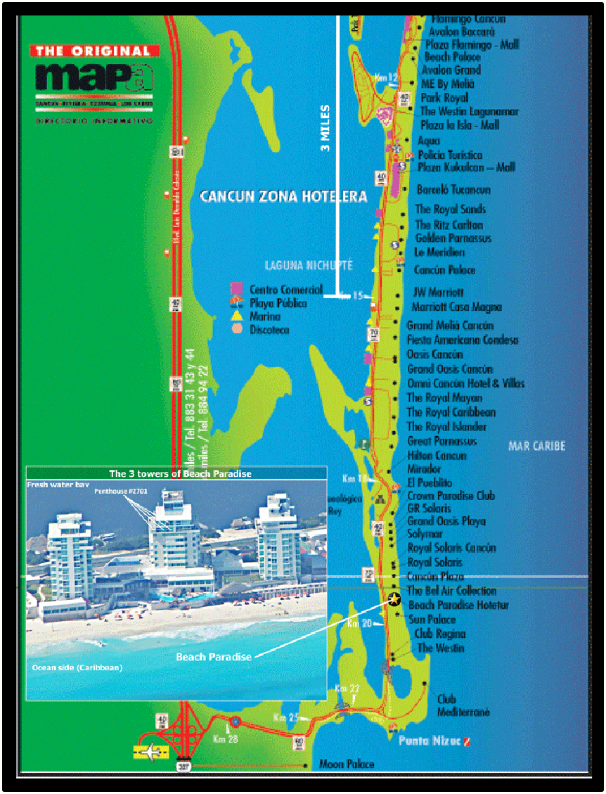 Cancun Mexico Hotel Zone Map