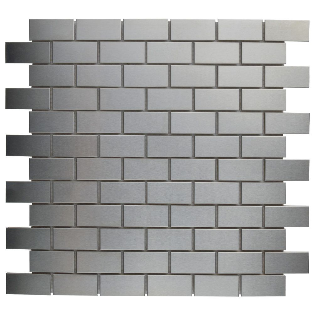 Alloy Subway 11 3 4 Inch X 11 3 4 Inch X 8 Mm Stainless Steel Over Porcelain Mosaic Tile 9 79 Sf Ca Mosaic Wall Tiles Mosaic Tiles Ceramic Mosaic Tile