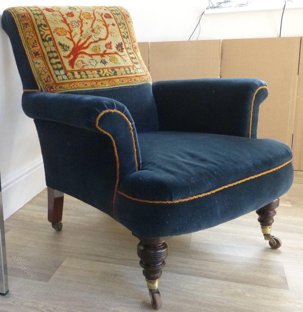 Fantastic Victorian Armchair Blue Velvet With Carpet Back Antiques Inzonedesignstudio Interior Chair Design Inzonedesignstudiocom