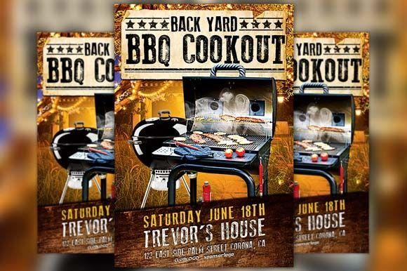 Backyard BBQ Party Flyer Template by Flyermind on Creative Market