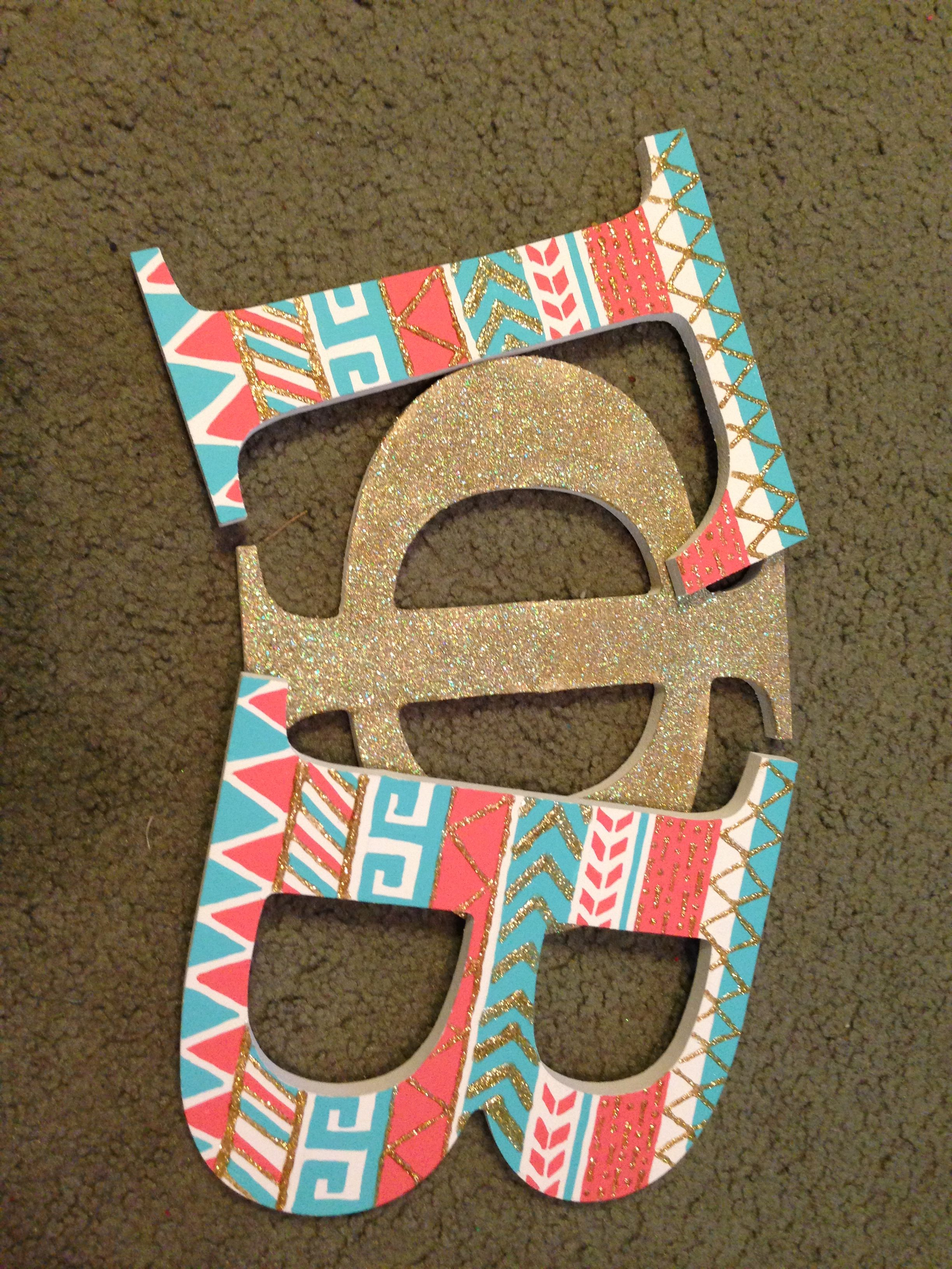 letters i painted for my little gamma phi beta