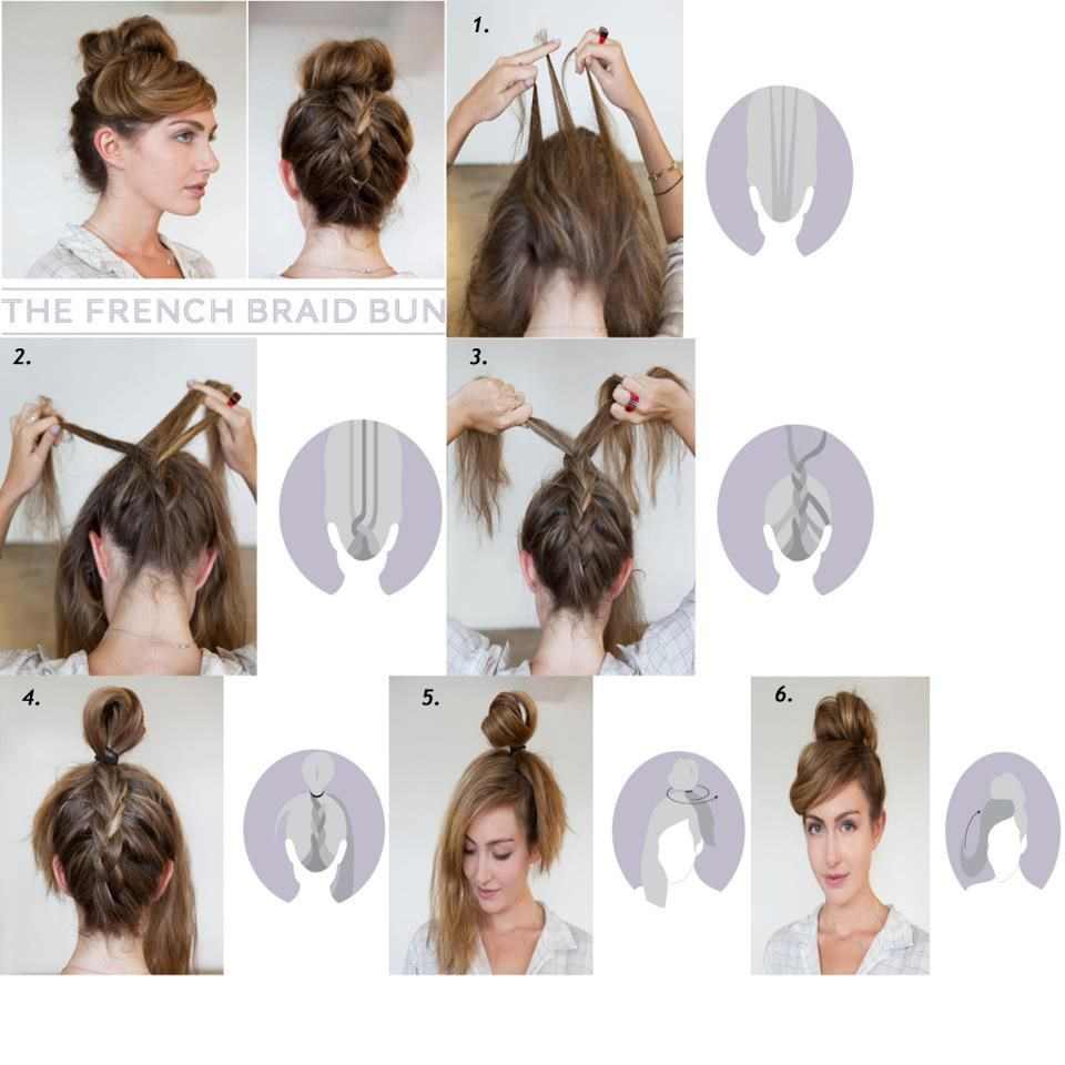 Diy French Braid Bun Hairstyle Tip: Braid Your Hair While Headdown ;