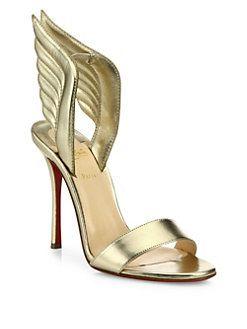 5831fc40a6f Christian Louboutin - Samotresse Metallic Leather Wing Sandals ...