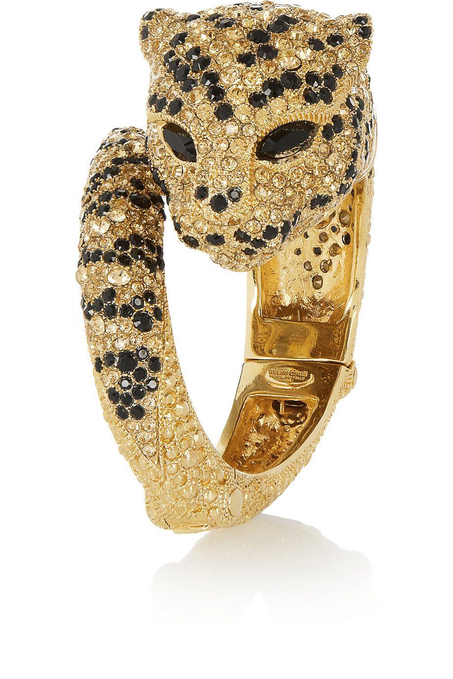 Goldplated swarovski crystal panther bracelet gemsfavourites