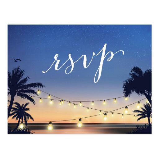 palm beach string lights summer sunset rsvp reply postcard rsvp