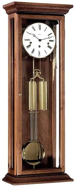 Solid Walnut Weight Driven Vienna Regulator Clock Antique