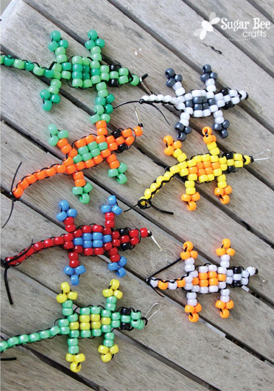 Pony Bead Lizard Tutorial Kids Things Pinterest Beaded Animals