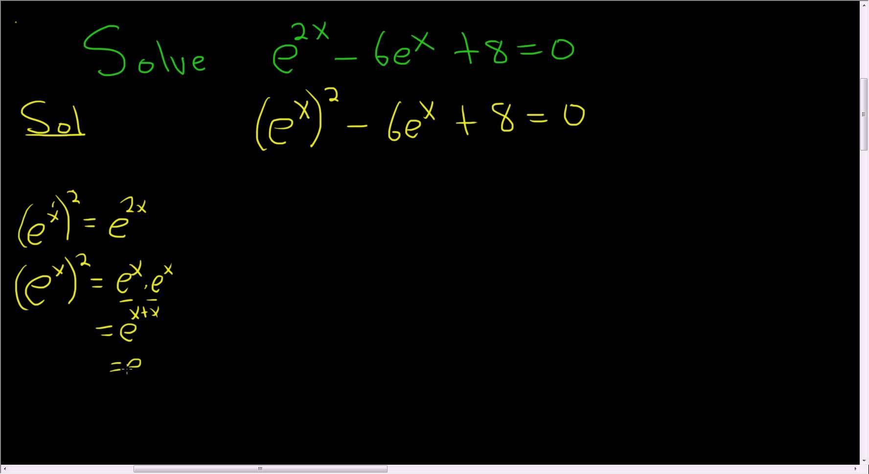 Solving The Exponential Equation E 2x 6 E X 8 0 Quadratics Exponential Math Videos