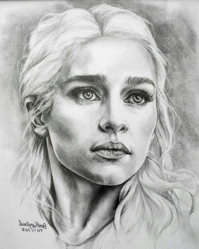 Photo of Black and white sketch, girl's face, Daenerys Targaryen drawing, blonde …