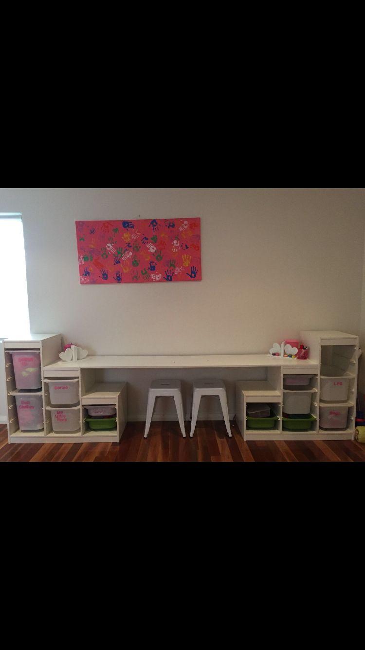 IKEA trofast x2 turned desk