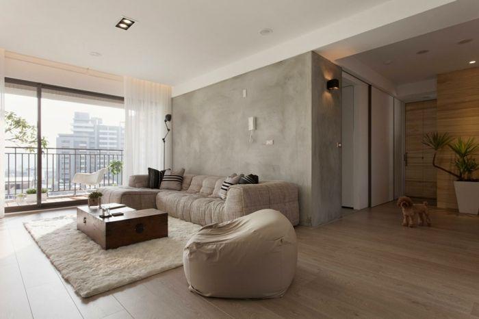 wohneinrichtung ideen betonwände wohnzimmer Living room