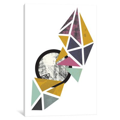 East Urban Home Colorful Triangles Graphic Art On Wrapped Canvas Size 26 H X 18 W X 1 5 D Geometric Art Prints Abstract Art Prints Wall Art Prints