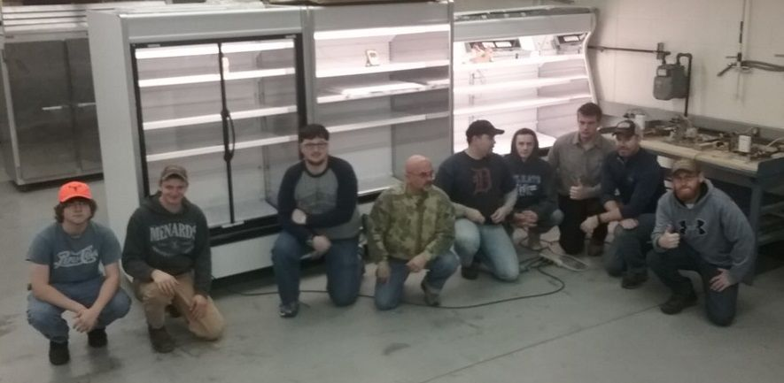 Grand Rapids Community College HVAC students completed the installation and startup of three supermarket display cases.