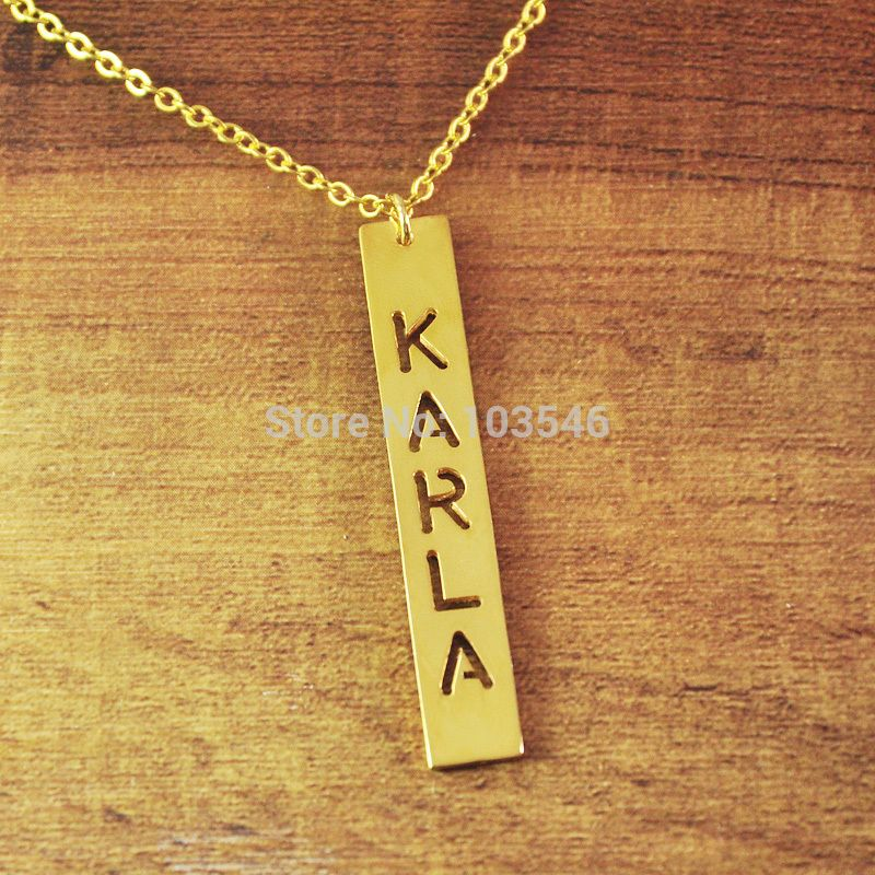 Find more pendant necklaces information about cut out nameplate cheap pendant design buy quality gold cross necklace men directly from china pendant lamp suppliers cut out nameplate vertical pendant gold plated in aloadofball Image collections
