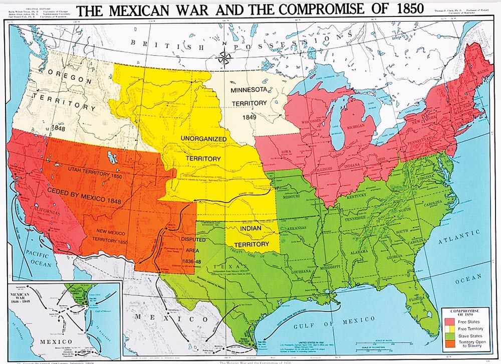 Map Of The Us 1850 The Mexican War and the Compromise of 1850, U.S. History Map
