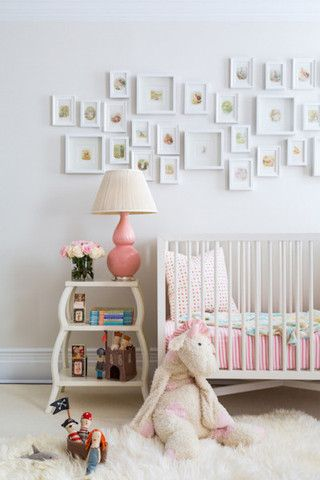 Art Over Crib Dwell Studio Mid Century French White Pink Nursery