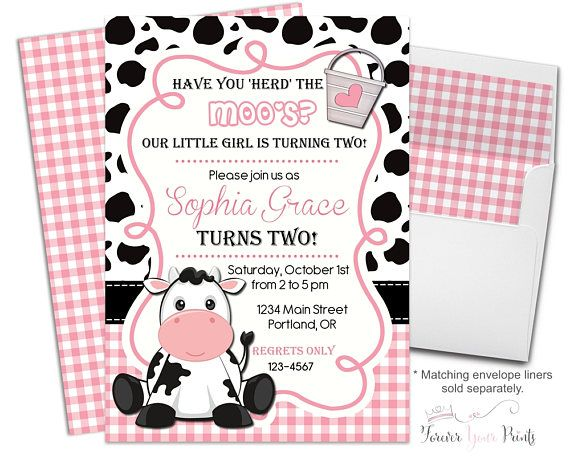 Girls Cow Birthday Invitation, Cow Party Invitation, Cow Party Invite, Cow Invitation, Girls