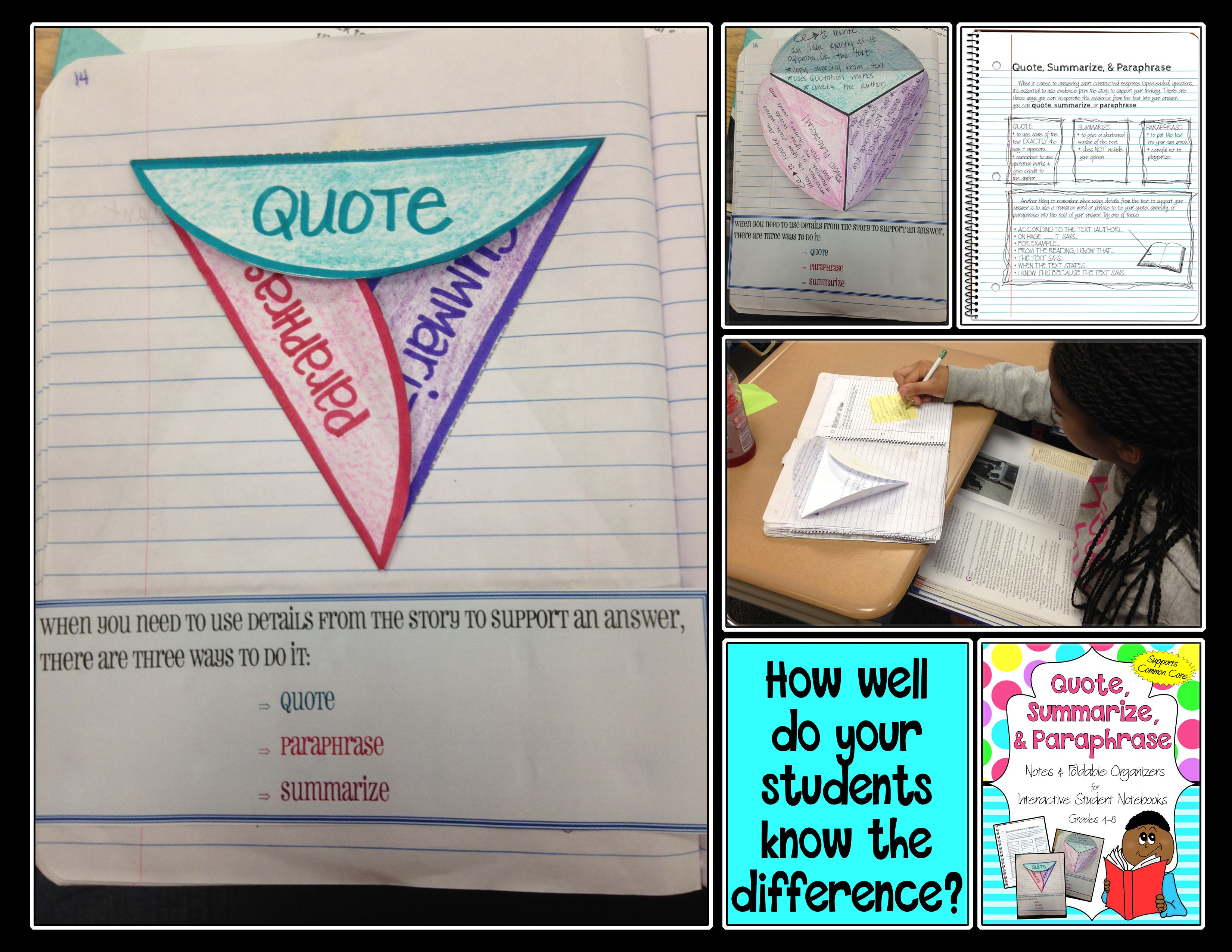 Pin On Tpt Free Lessons Difference Between Paraphrasing And Quoting