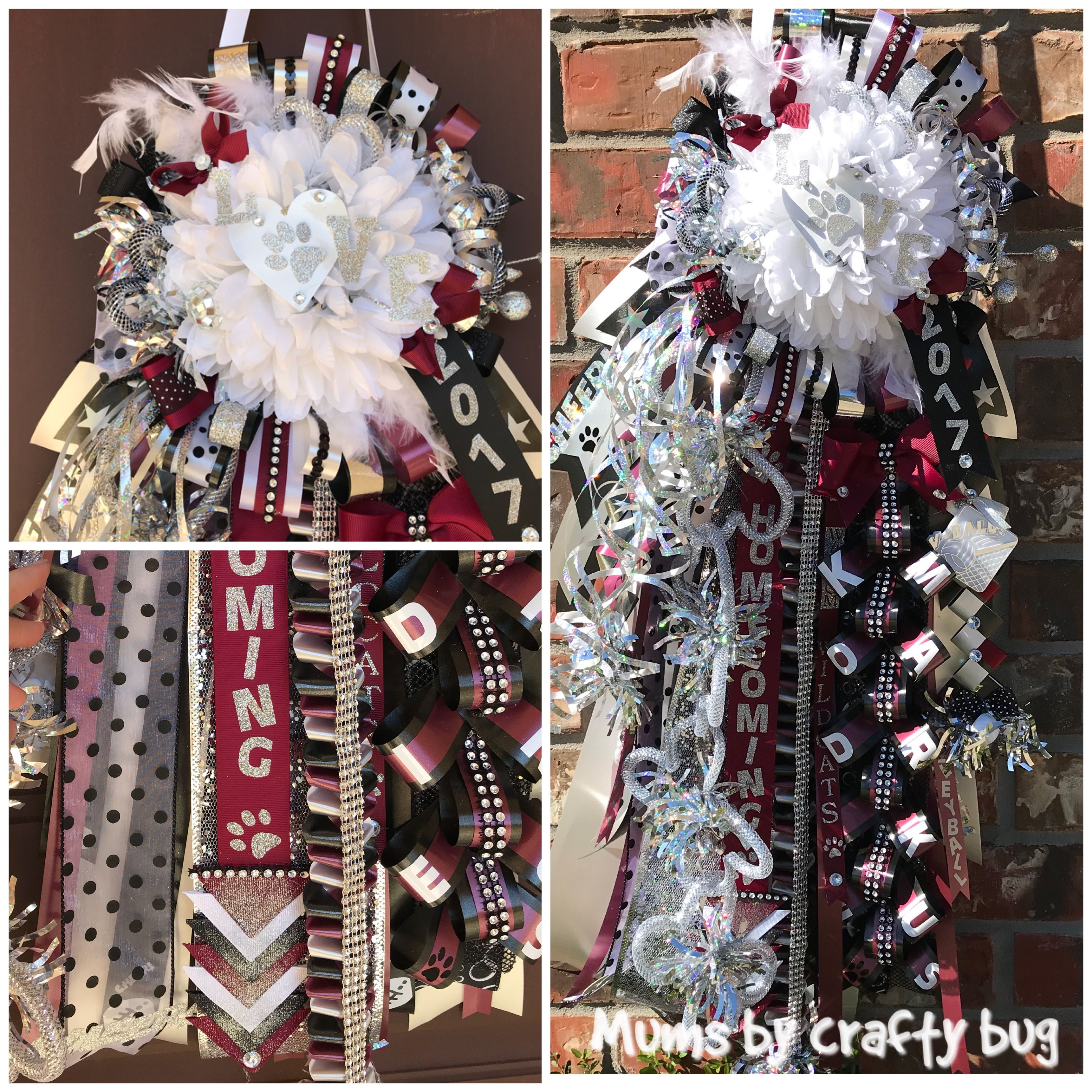 Maroon Black White And Silver Homecoming Mum 24 Streamers