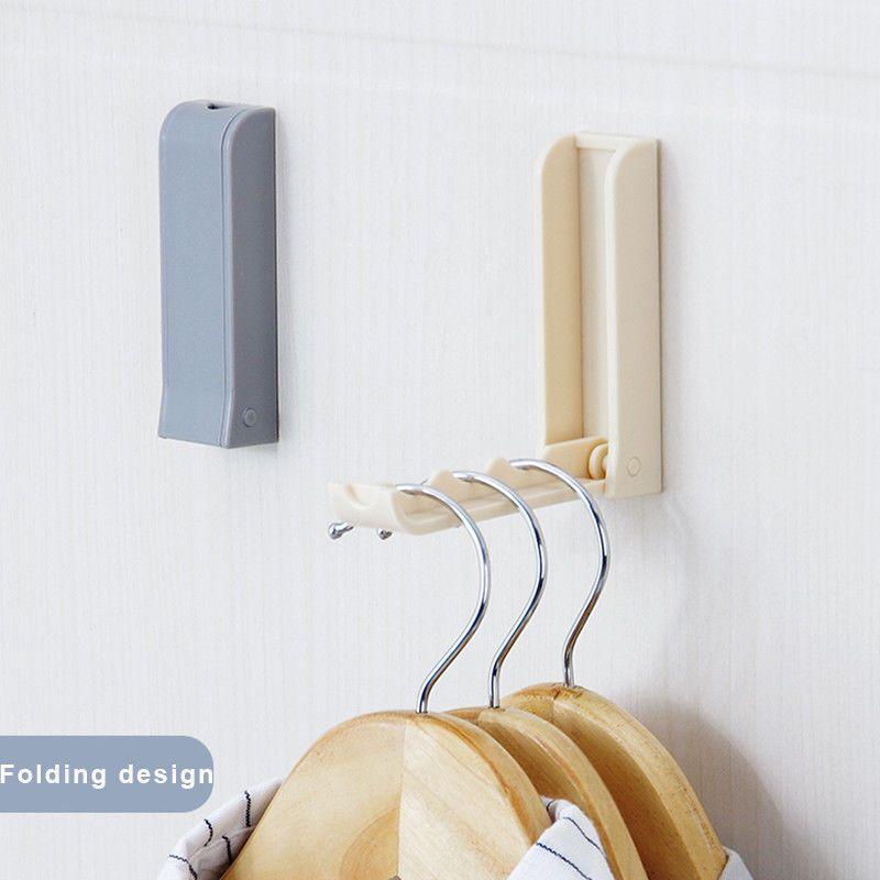 Plastic Folding Clothes Hanger Wall Hook Closet Bathroom Towel