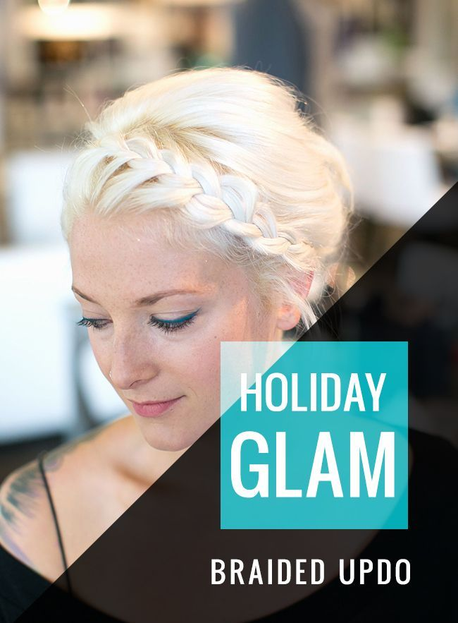 Braided Updo with Teal Cat Eye  Hello Glow  Braided Updo with Teal Cat Eye