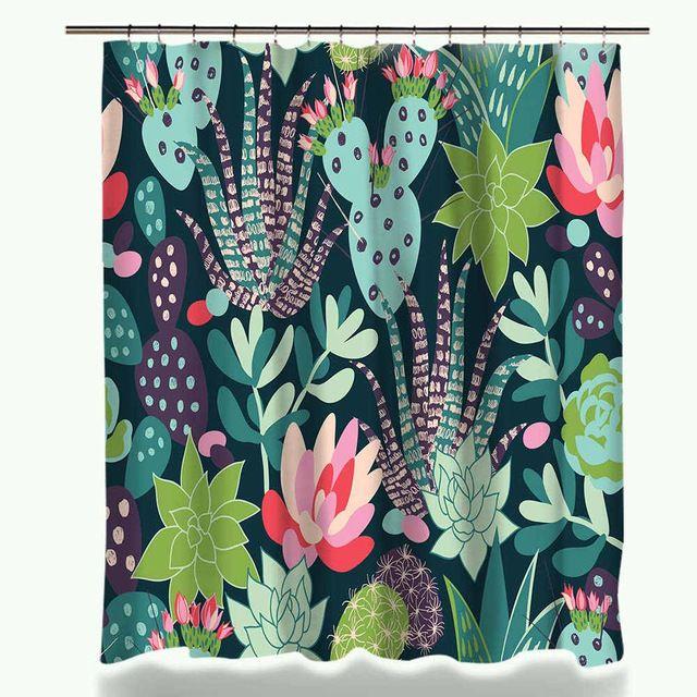 Cactus Succulent Print Shower Curtain