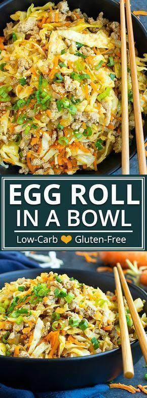 This Egg Roll in a Bowl recipe is loaded with Asian flavor and is a Paleo, Whole30, gluten-free, dairy-free and keto recipe to make for an easy weeknight dinner. From start to finish, you can have this low carb and healthy family dinner recipe ready in under 30 minutes! sesame oil, cabbage, and carrots make up the bulk of this flavored via @londonbrazil roll in a bowl Egg Roll in a
