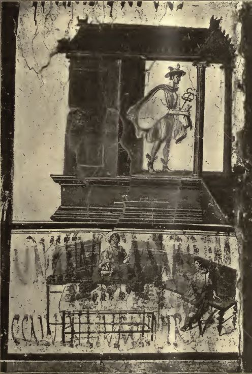 3) Wall painting depicts Mercury with caduceus and petasus emerging from a little Etruscan-Italic temple.He holds a purse of money in his right hand.  Old postcard of about 1910. Photo courtesy of Drew Baker.
