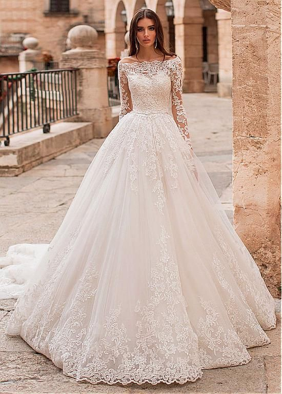Photo of [276.80] Stunning Tulle Off-the-shoulder Neckline Ball Gown Wedding Dress With Lace Appliques & Detachable Jacket – magbridal.com.cn