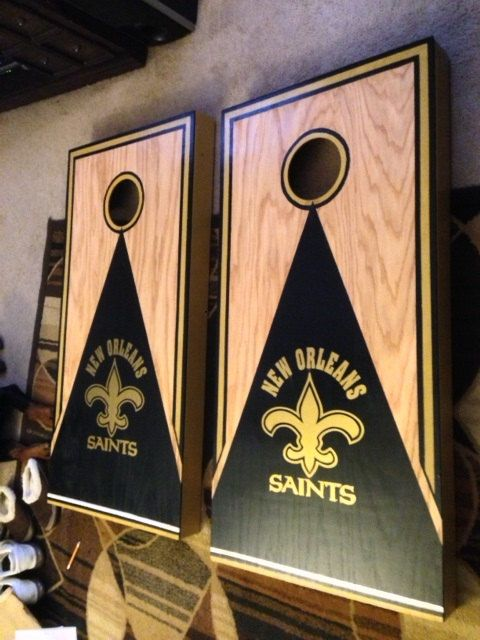New Orleans Saints Cornhole Decals 2 Gold - Ready To Apply Outdoor Vinyl