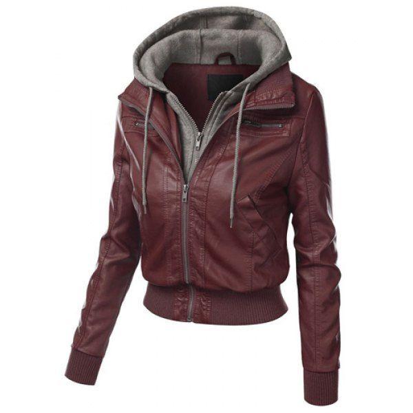 Chic Hooded Long Sleeve Faux Twinset Pocket Design Women's Jacket