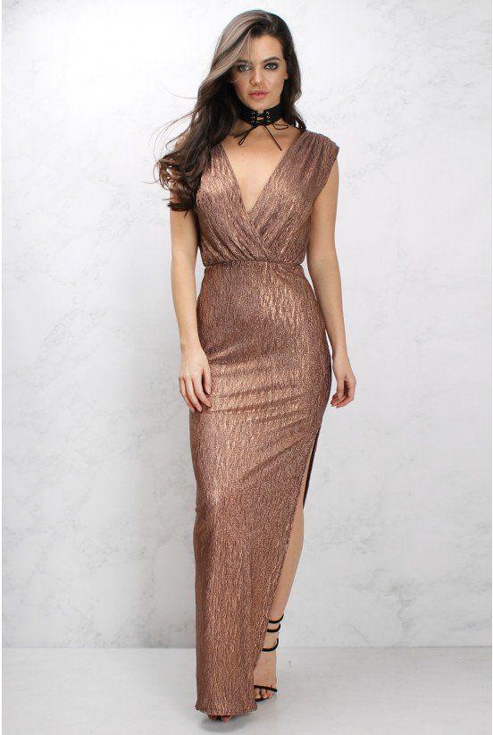 Bronze Metallic Wrap Maxi Dress | Rare London