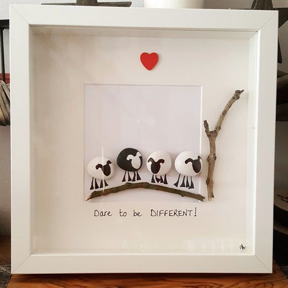 Pebble art. Dare to be different! sheep. 23cm box frame picture