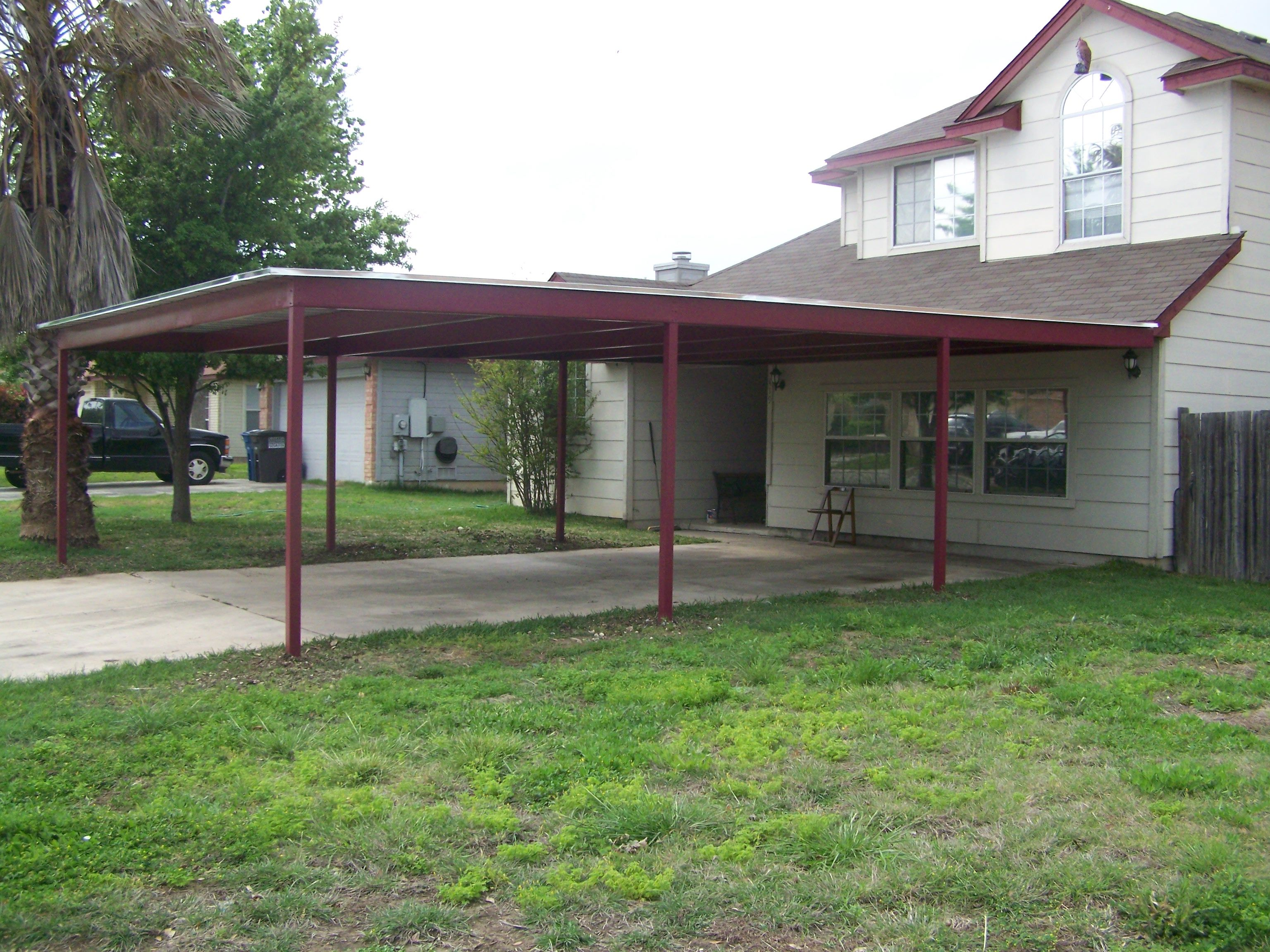 Custom metal carport and porch addition south san antonio for Garage with carport plans