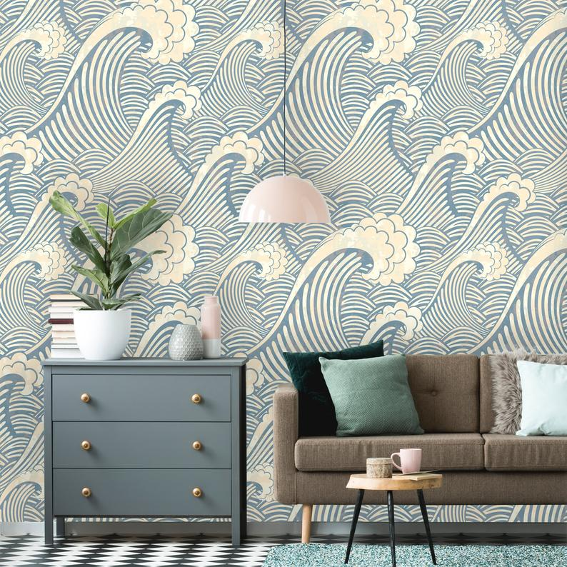 Removable Wallpaper Peel And Stick Great Wave Pattern Etsy In 2021 Removable Wallpaper Textured Walls Wallpaper