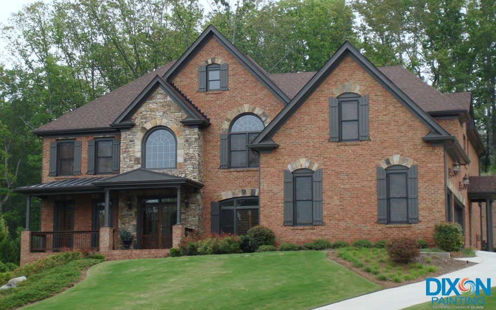 Windows Painted Dark Gray Interior And Exterior Painter In - Brick house colors with dark brown