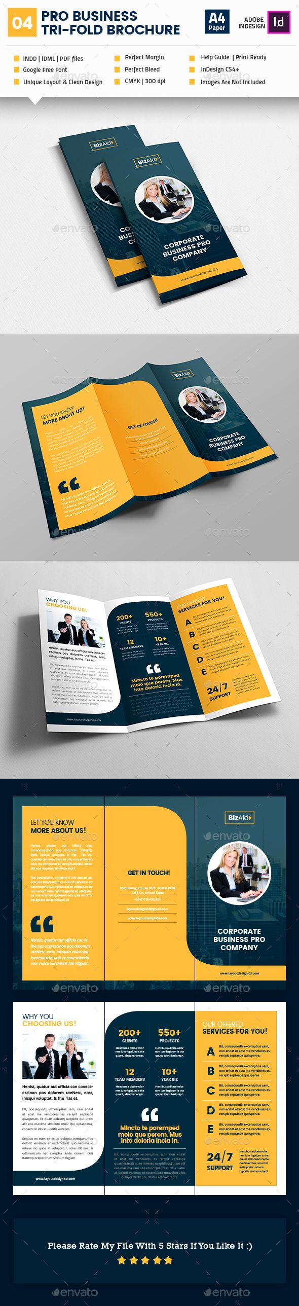 Pro Business TriFold Brochure Template InDesign INDD Brochure - Business tri fold brochure templates