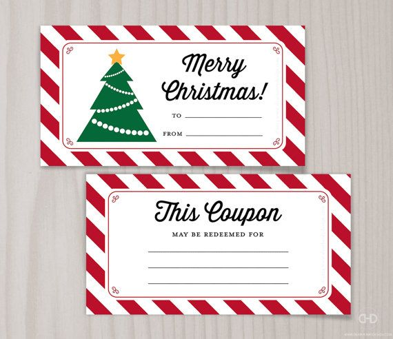 Striped Christmas Coupons Digital Pdf Instant Download Looking
